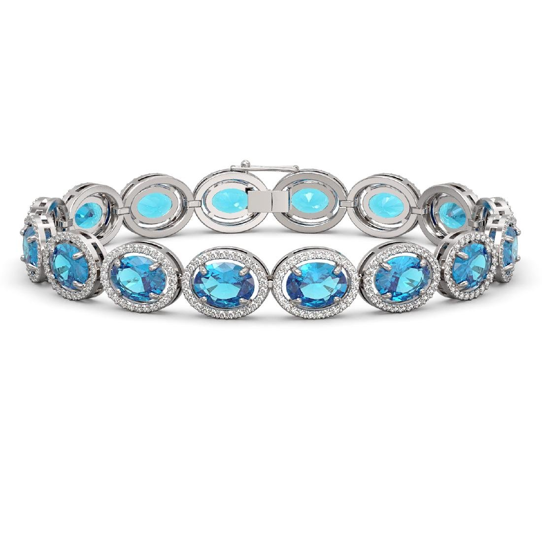 29.53 CTW Swiss Topaz & Diamond Halo Bracelet 10K White