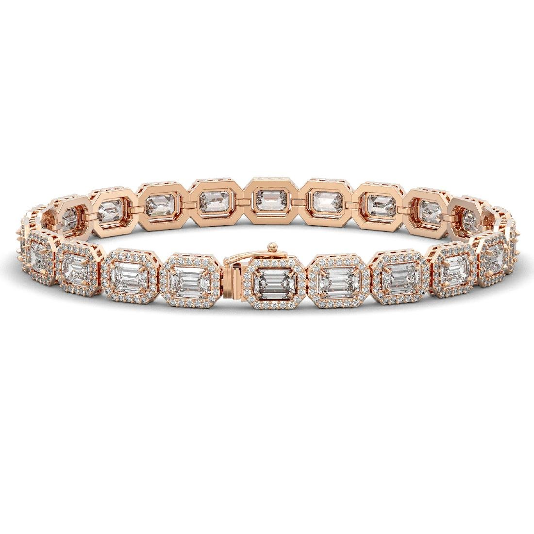 16.72 CTW Emerald Cut Diamond Designer Bracelet 18K - 2