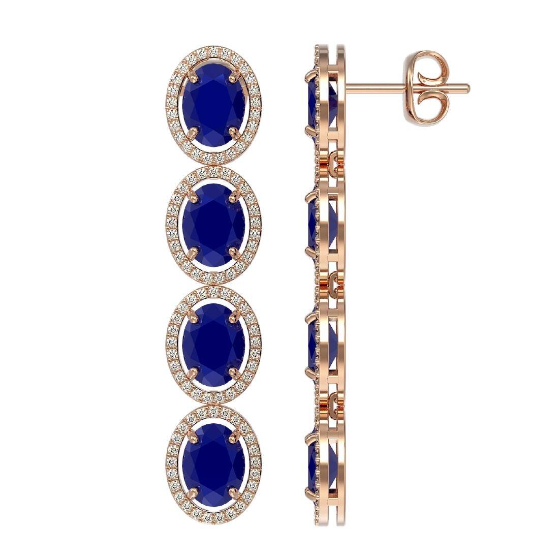 15.68 CTW Sapphire & Diamond Halo Earrings 10K Rose - 2