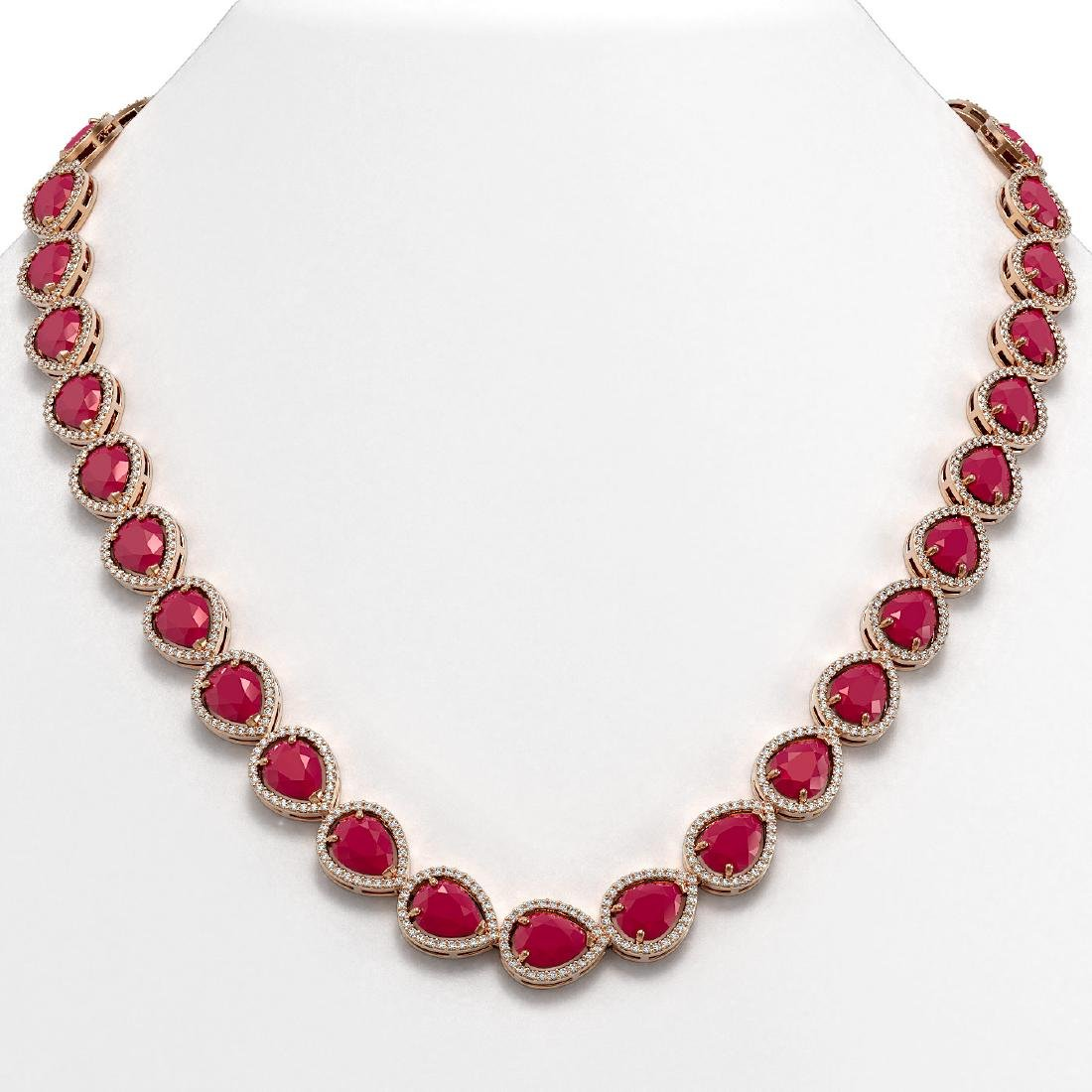 64.01 CTW Ruby & Diamond Halo Necklace 10K Rose Gold
