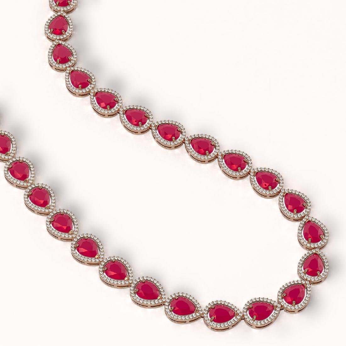 64.01 CTW Ruby & Diamond Halo Necklace 10K Rose Gold - 2