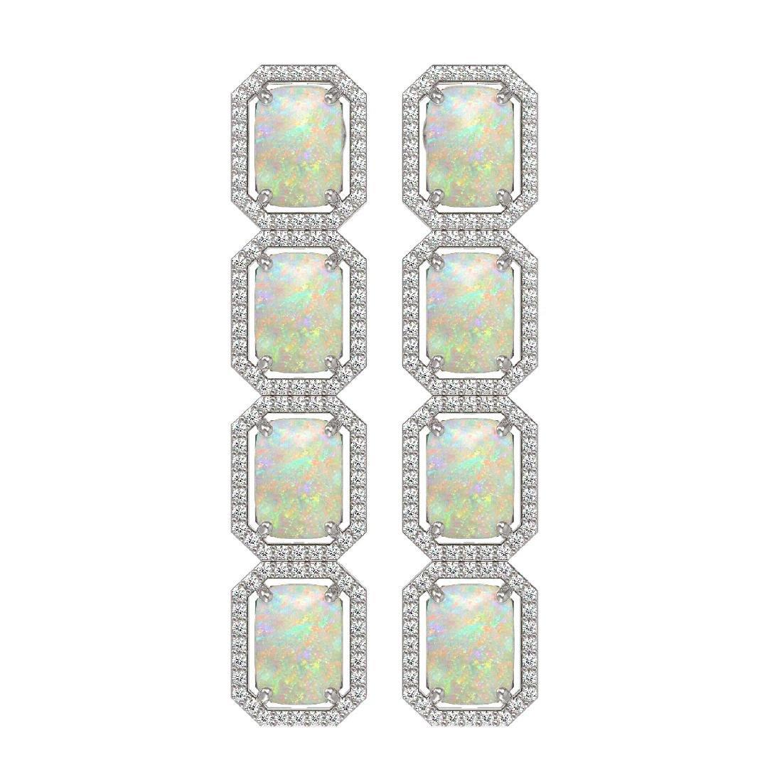 12.99 CTW Opal & Diamond Halo Earrings 10K White Gold