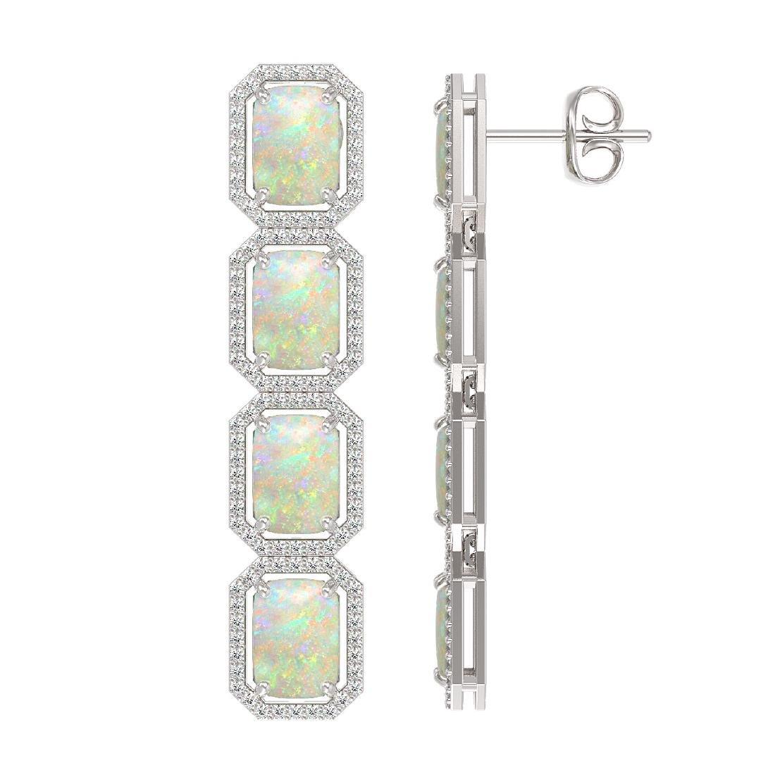 12.99 CTW Opal & Diamond Halo Earrings 10K White Gold - 2