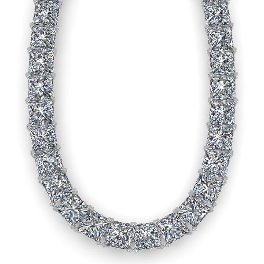 40 CTW Princess Certified SI Diamond Necklace 18K Rose - 2