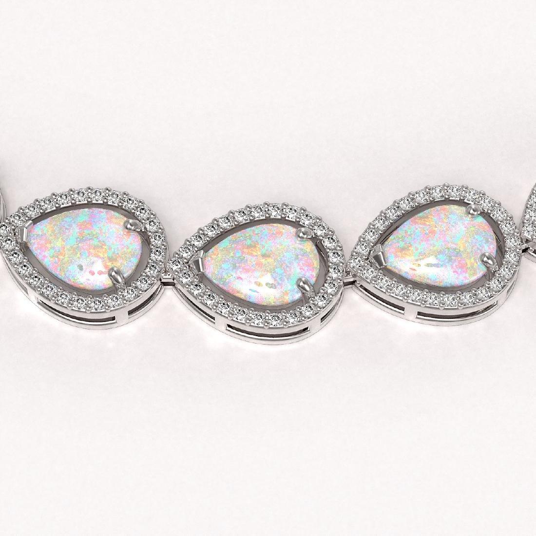 36.48 CTW Opal & Diamond Halo Necklace 10K White Gold - 3