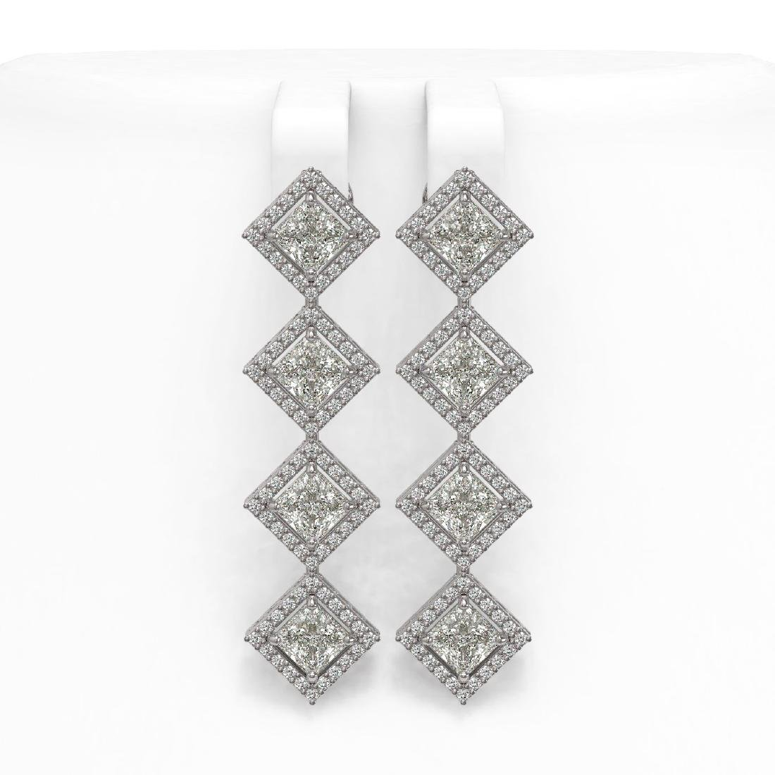5.92 CTW Princess Cut Diamond Designer Earrings 18K