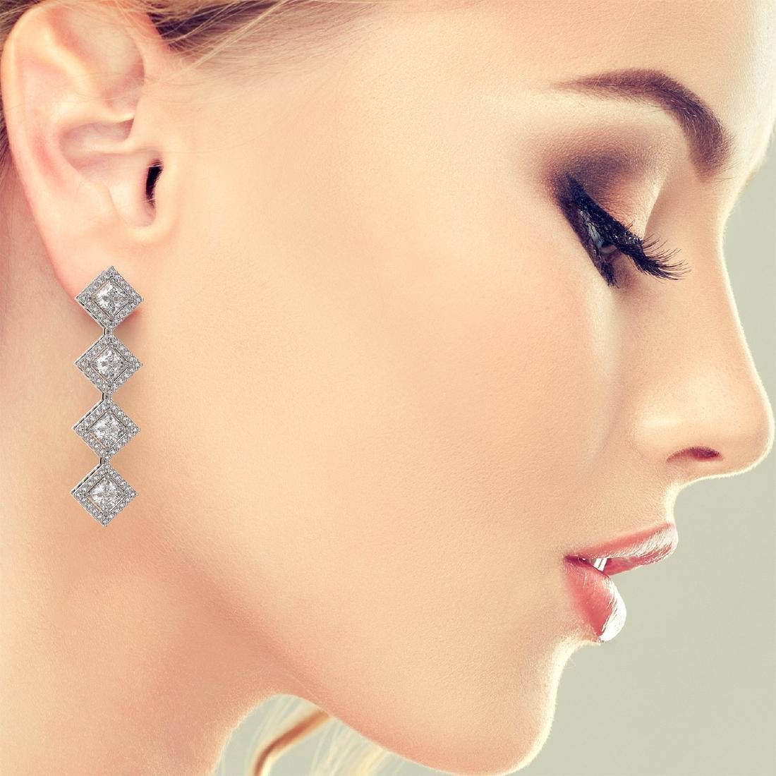 5.92 CTW Princess Cut Diamond Designer Earrings 18K - 2