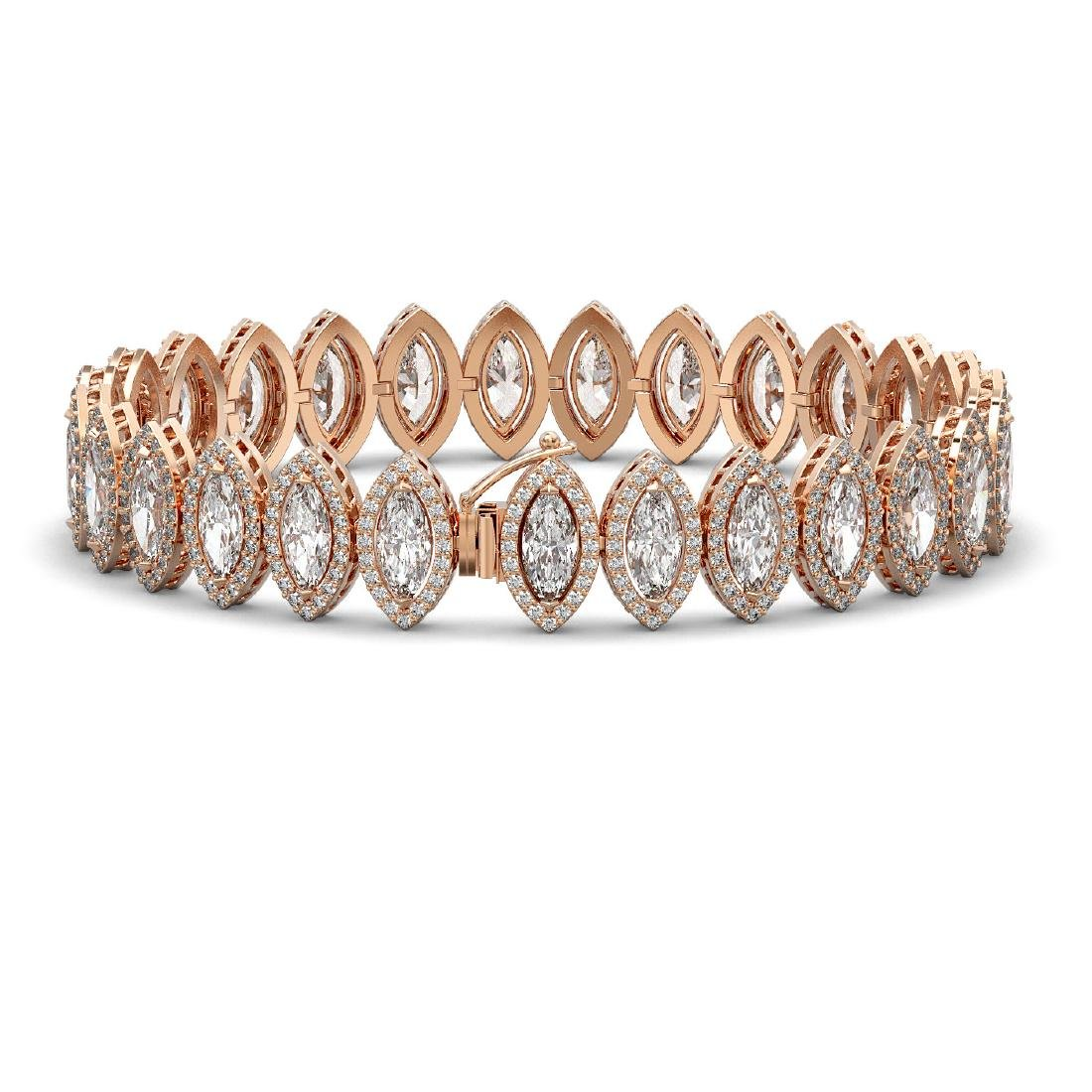 20.25 CTW Marquise Diamond Designer Bracelet 18K Rose - 2