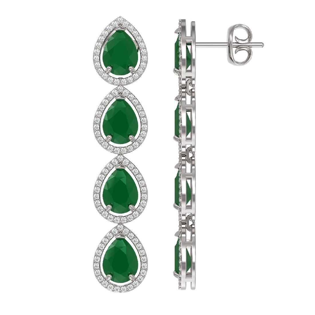 16.01 CTW Emerald & Diamond Halo Earrings 10K White - 2