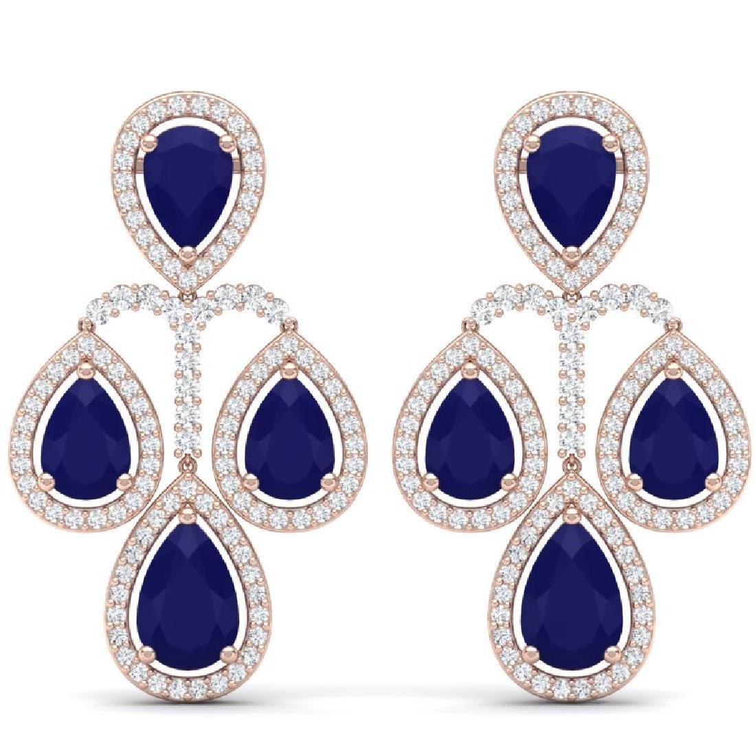 29.23 CTW Royalty Sapphire & VS Diamond Earrings 18K