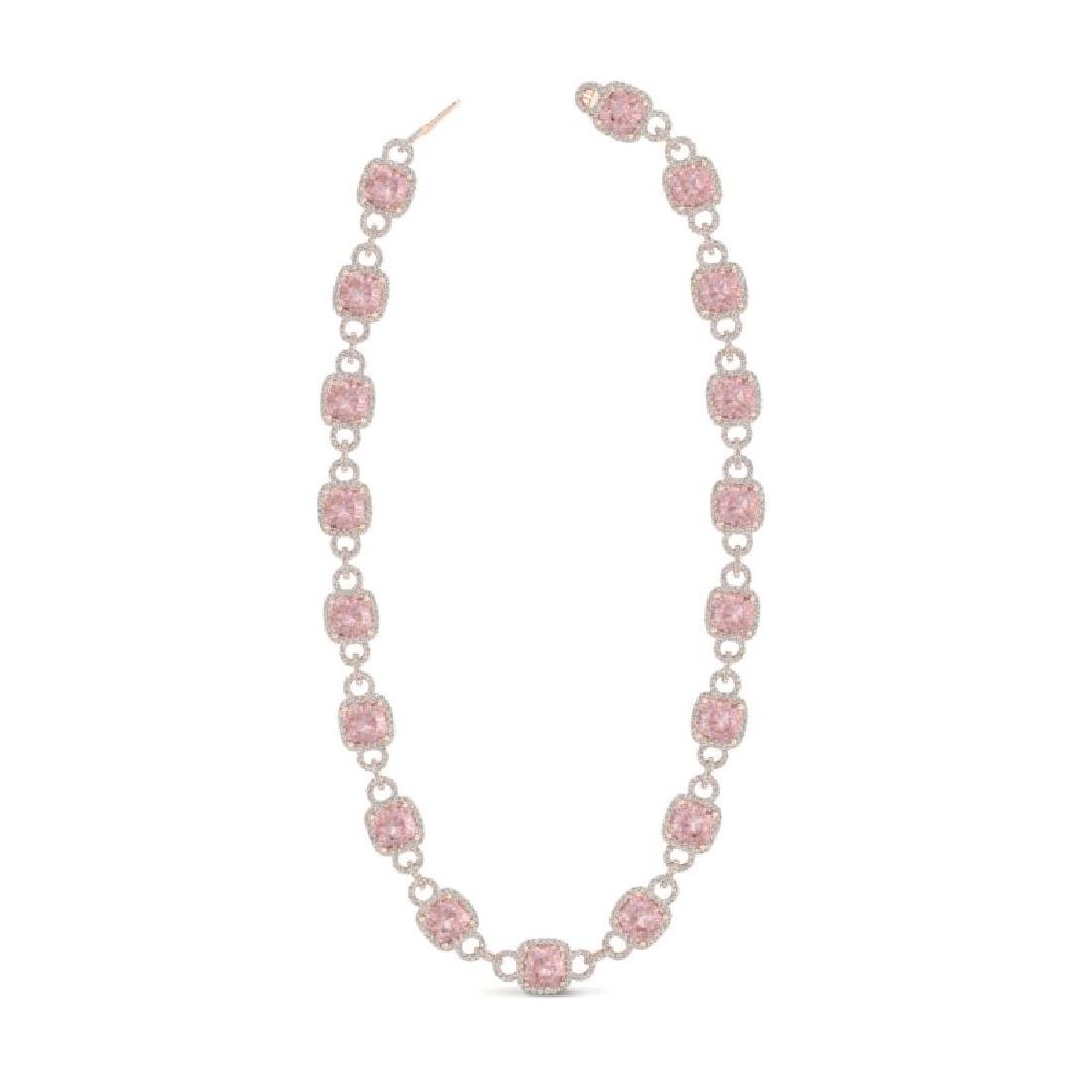 49 CTW Morganite & VS/SI Diamond Necklace 14K Rose Gold - 2