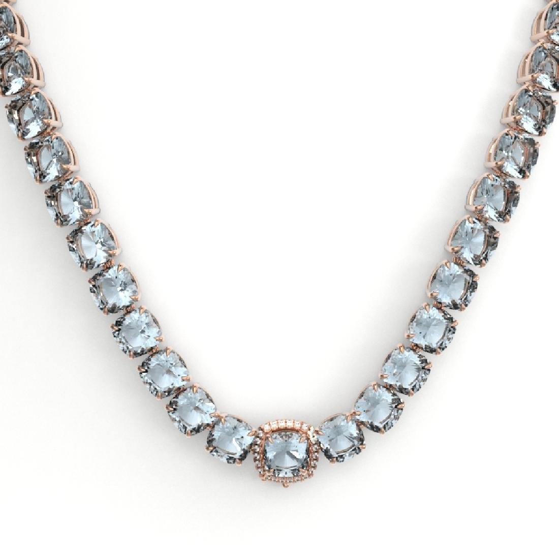 87 CTW Aquamarine & VS/SI Diamond Necklace 14K Rose - 2