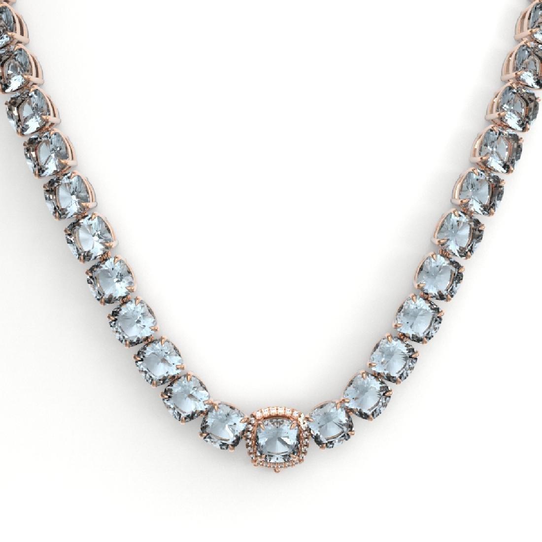 87 CTW Aquamarine & VS/SI Diamond Necklace 14K Rose - 2