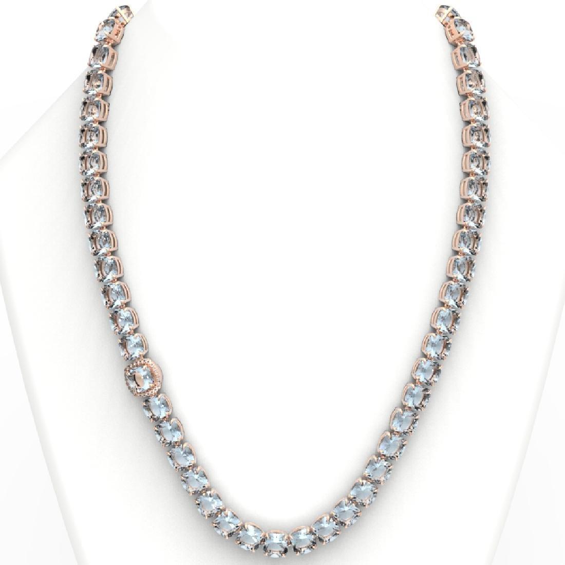 87 CTW Aquamarine & VS/SI Diamond Necklace 14K Rose - 3