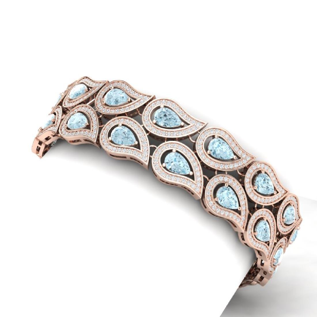 19.62 CTW Royalty Sky Topaz & VS Diamond Bracelet 18K - 2