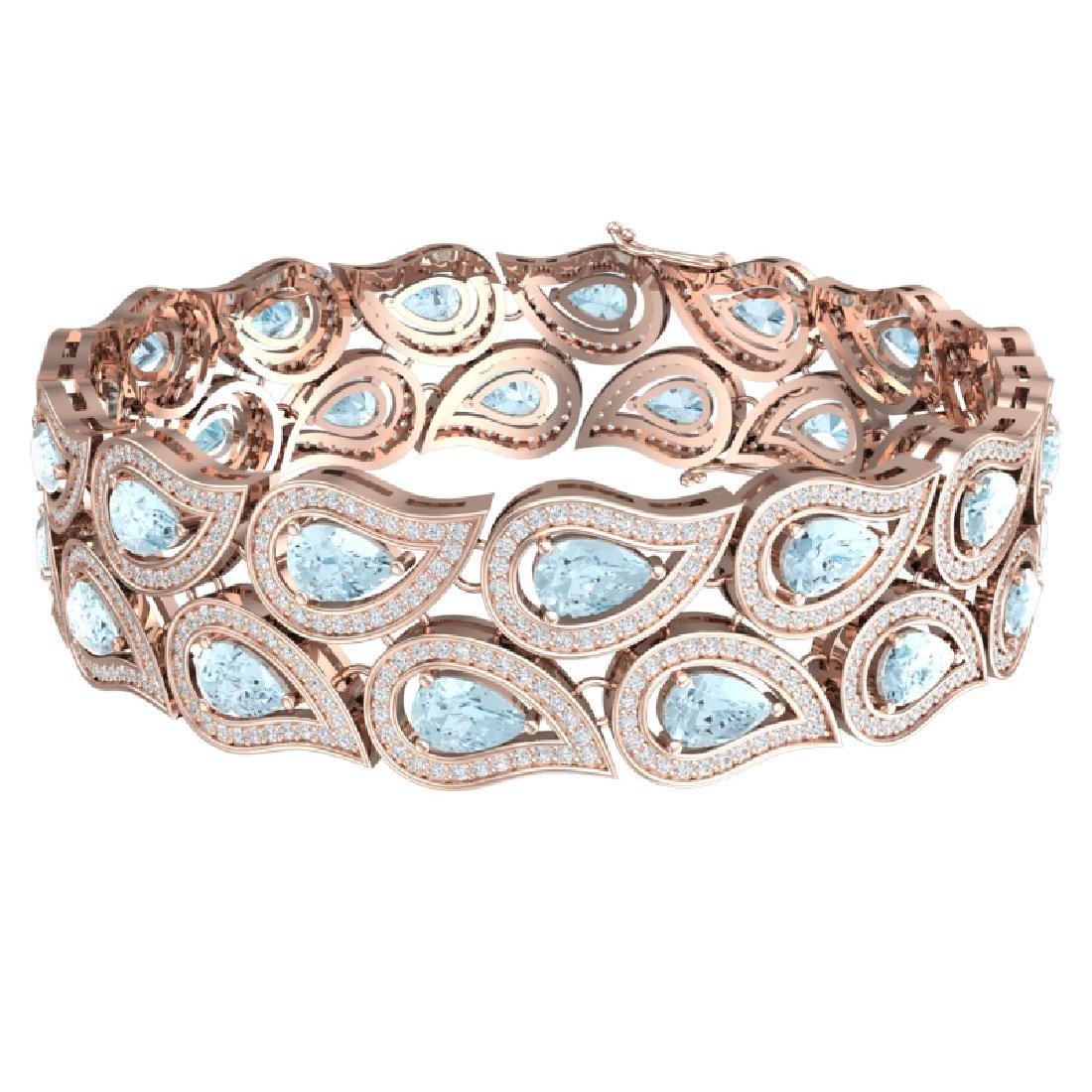 19.62 CTW Royalty Sky Topaz & VS Diamond Bracelet 18K - 3