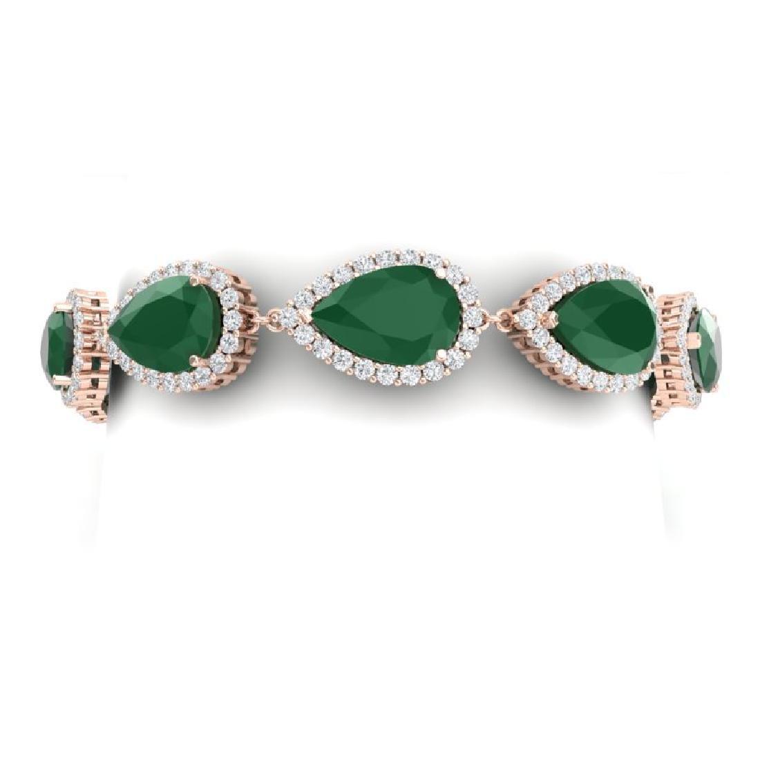 42 CTW Royalty Emerald & VS Diamond Bracelet 18K Rose