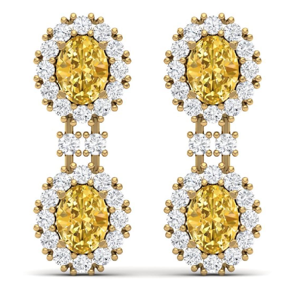 7.8 CTW Royalty Canary Citrine & VS Diamond Earrings