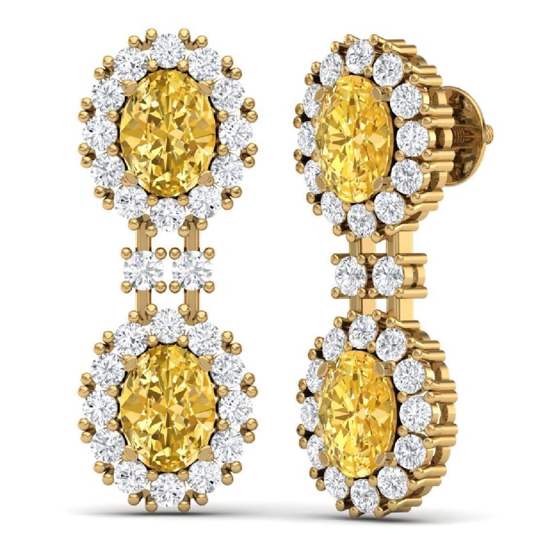 7.8 CTW Royalty Canary Citrine & VS Diamond Earrings - 3