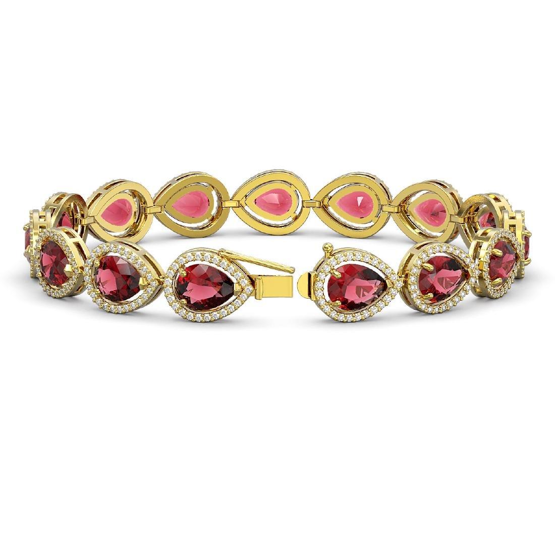 19.7 CTW Tourmaline & Diamond Halo Bracelet 10K Yellow - 2