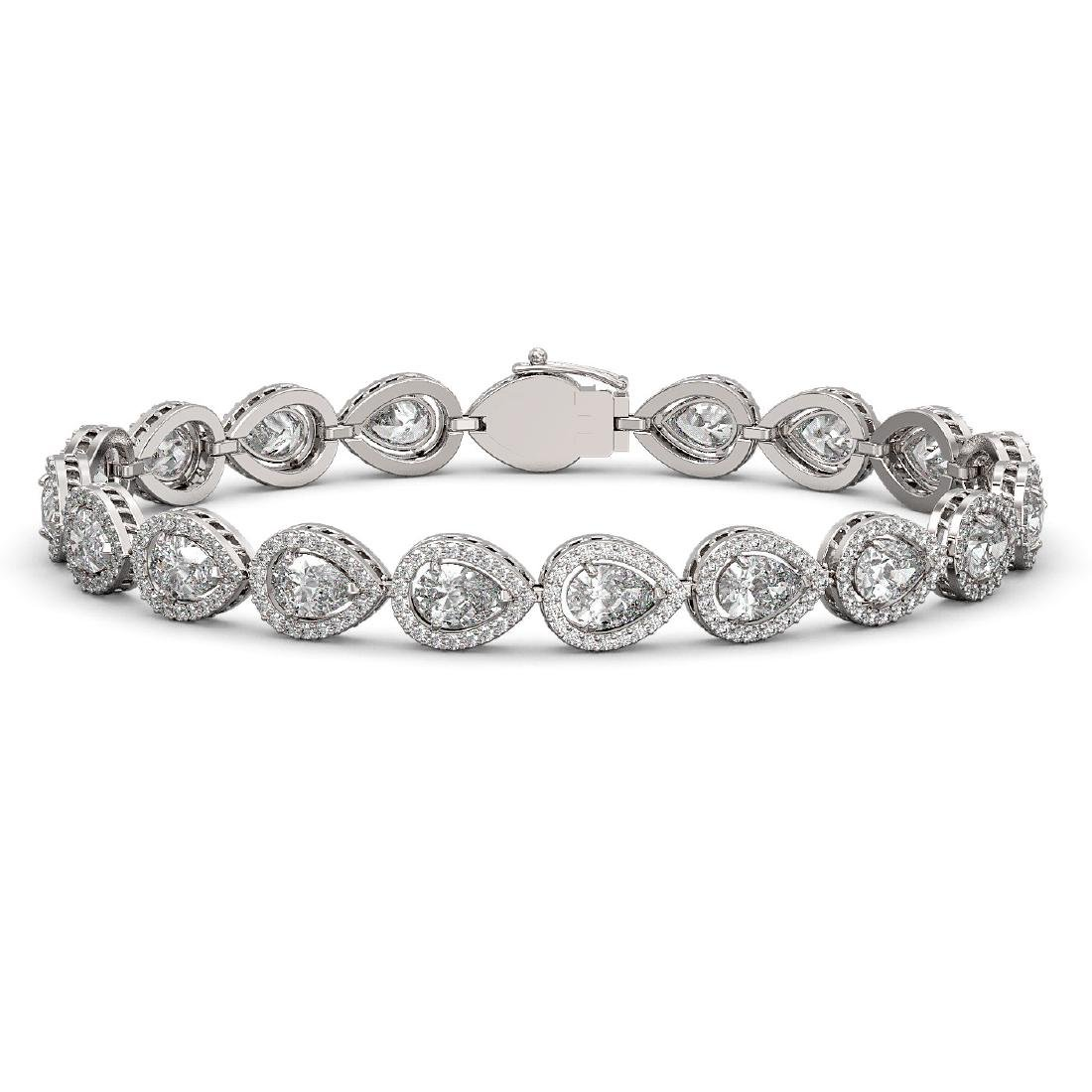 14.28 CTW Pear Diamond Designer Bracelet 18K White Gold