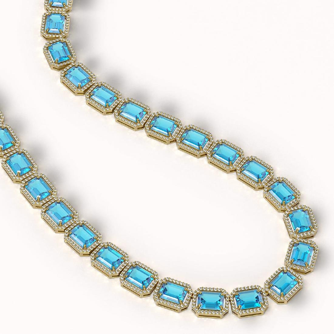 79.01 CTW Swiss Topaz & Diamond Halo Necklace 10K - 2