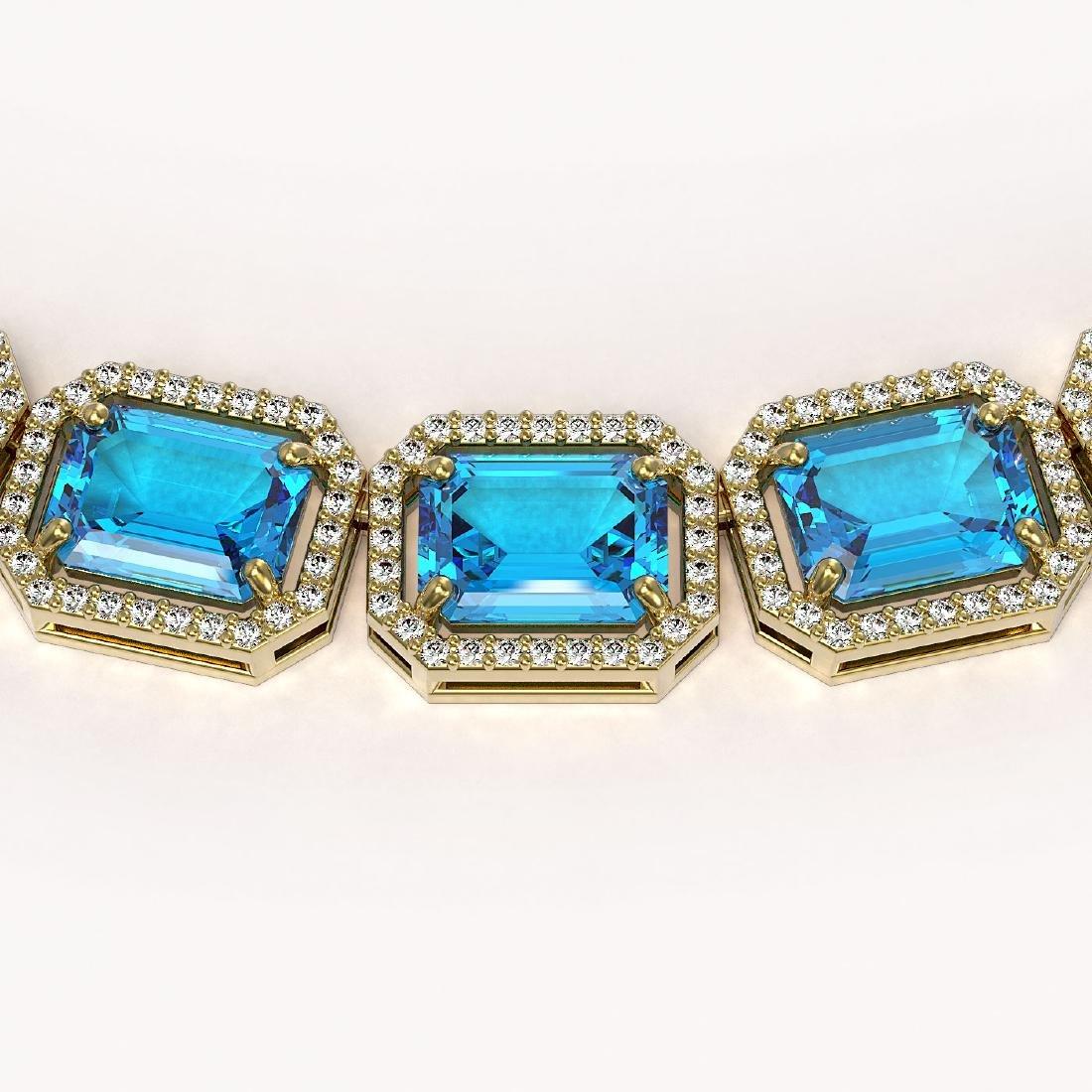 79.01 CTW Swiss Topaz & Diamond Halo Necklace 10K - 3