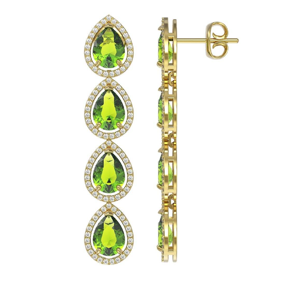 8.4 CTW Peridot & Diamond Halo Earrings 10K Yellow Gold - 2