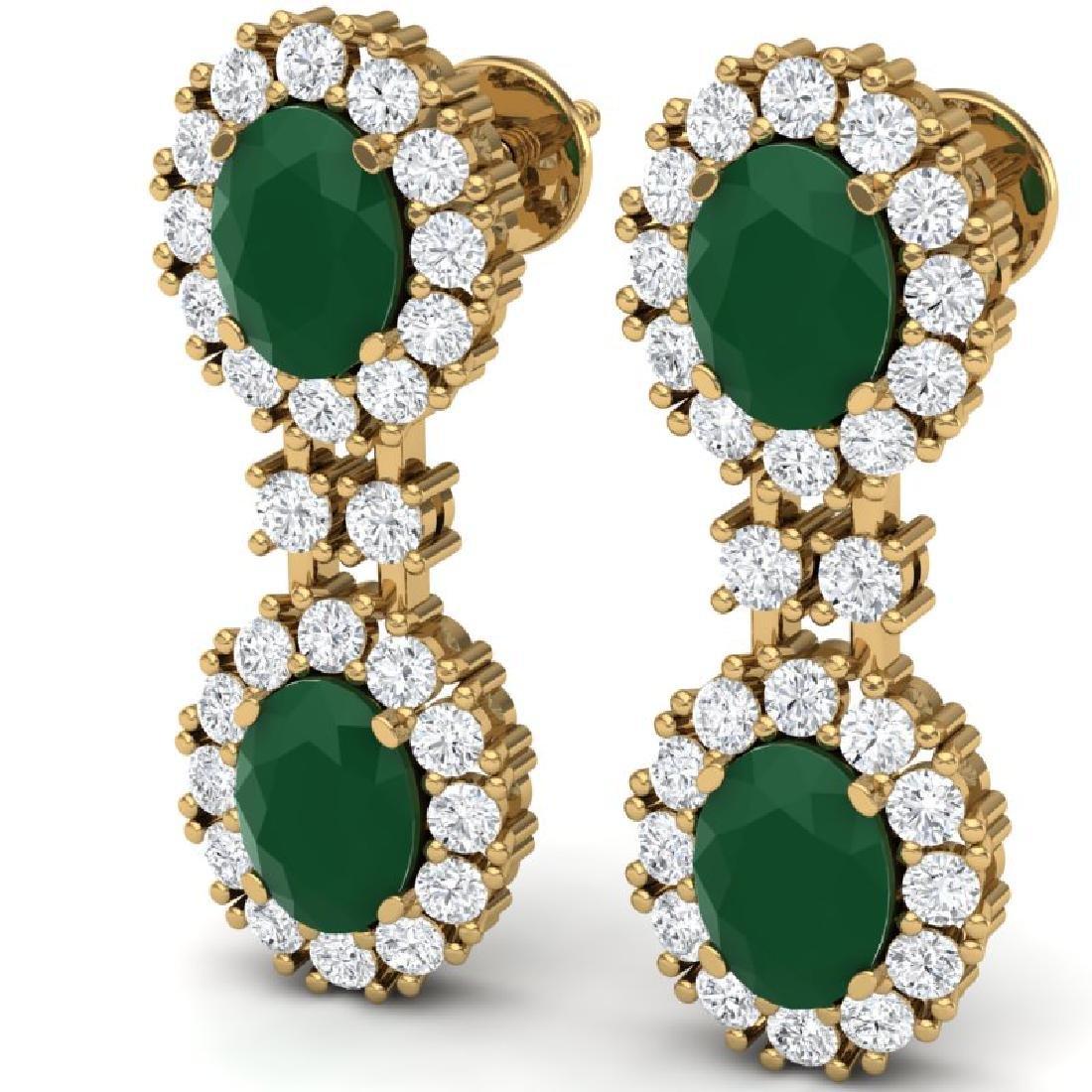 8.98 CTW Royalty Emerald & VS Diamond Earrings 18K - 2
