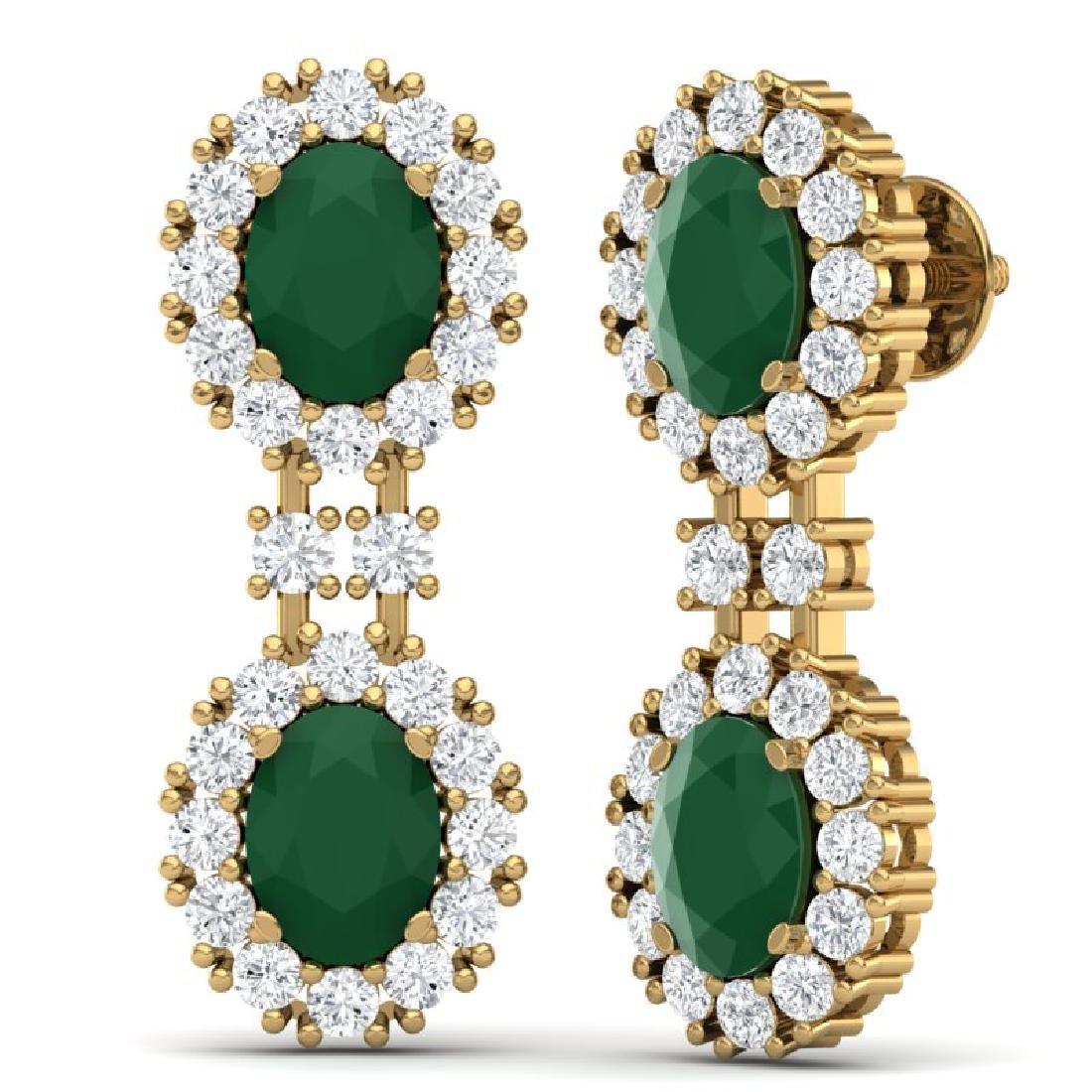 8.98 CTW Royalty Emerald & VS Diamond Earrings 18K - 3