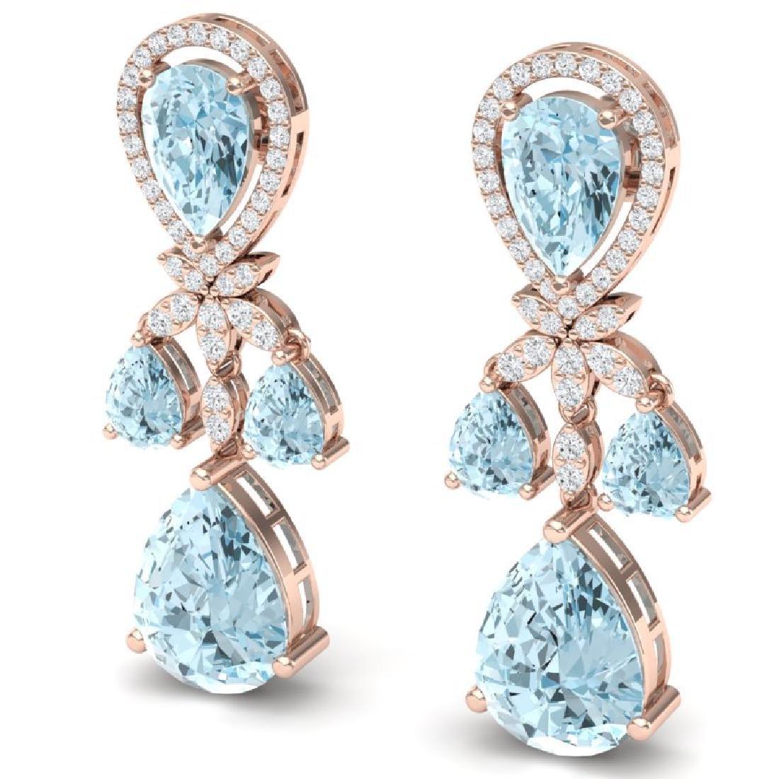 40.01 CTW Royalty Sky Topaz & VS Diamond Earrings 18K - 2