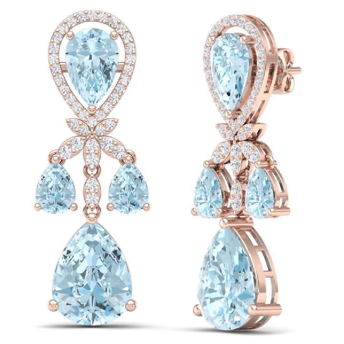 40.01 CTW Royalty Sky Topaz & VS Diamond Earrings 18K - 3