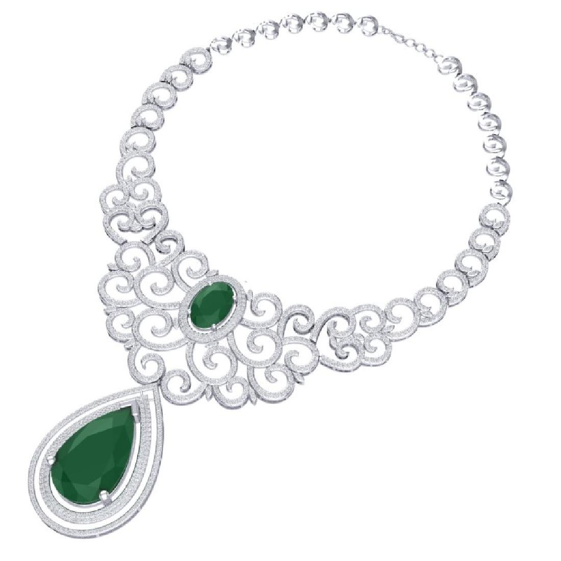 87.52 CTW Royalty Emerald & VS Diamond Necklace 18K - 3