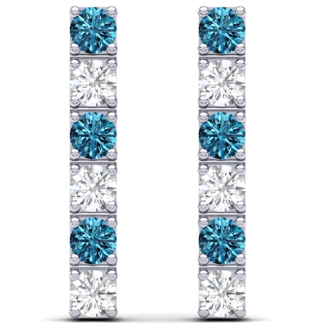 6 CTW SI/I Intense Blue & White Diamond Earrings 18K - 2