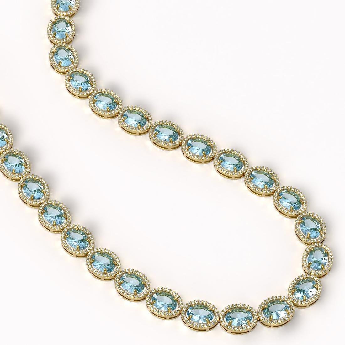 68.17 CTW Sky Topaz & Diamond Halo Necklace 10K Yellow - 2