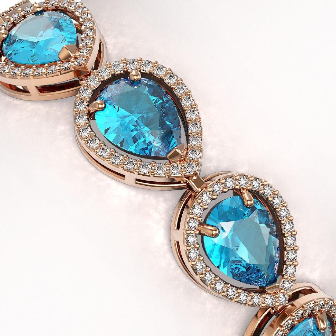 20.3 CTW Swiss Topaz & Diamond Halo Bracelet 10K Rose - 3