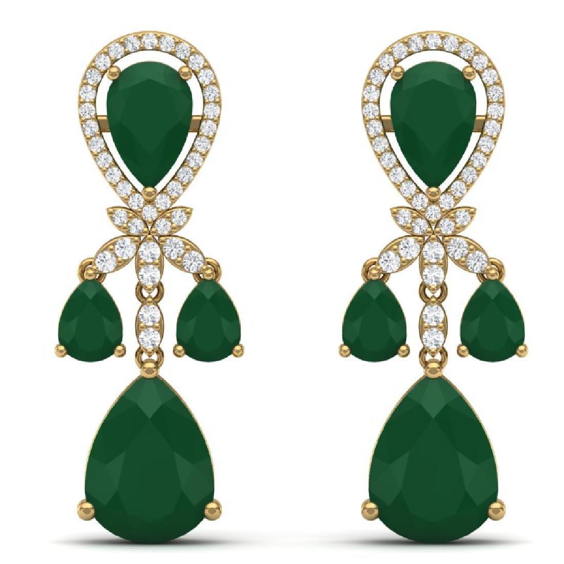 38.29 CTW Royalty Emerald & VS Diamond Earrings 18K