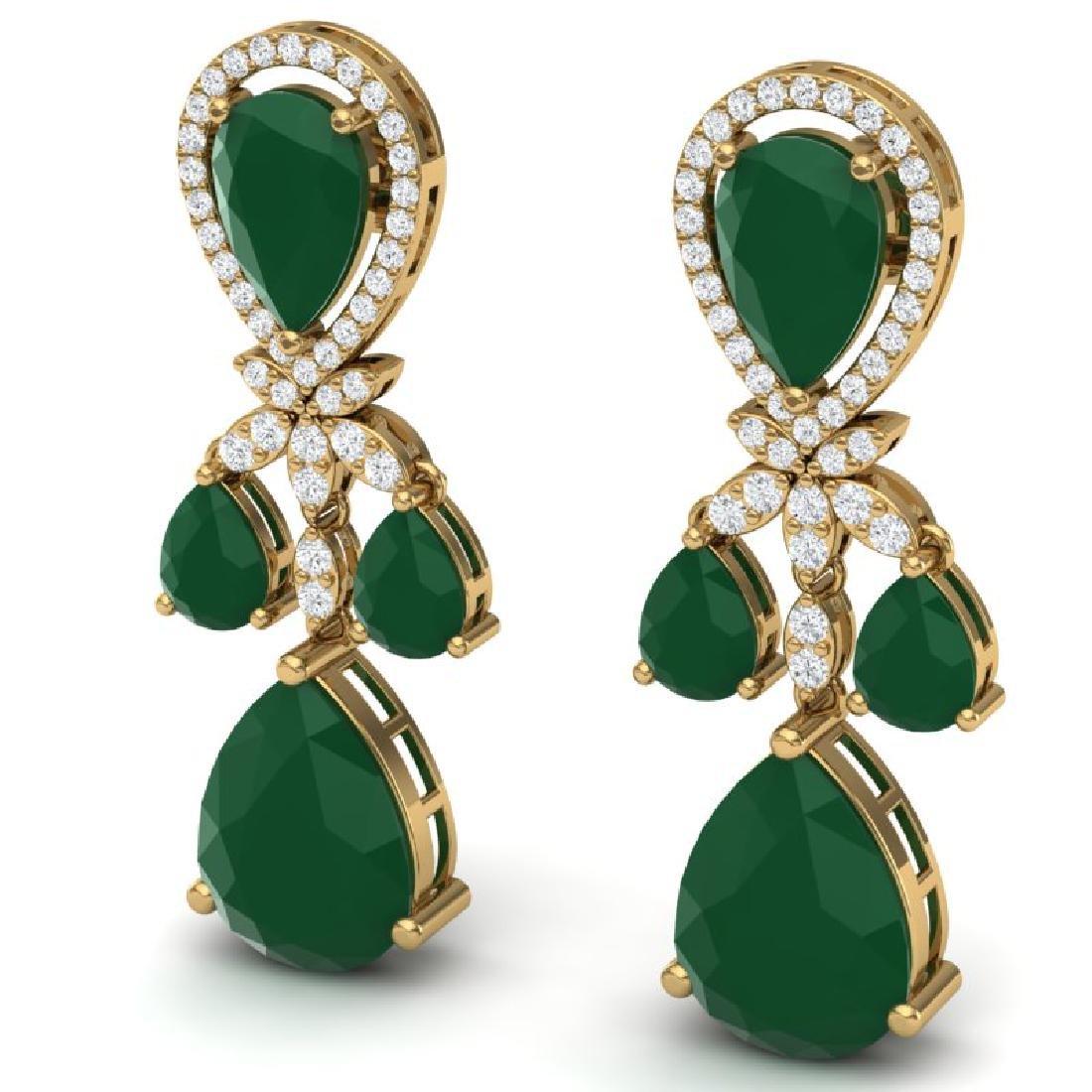 38.29 CTW Royalty Emerald & VS Diamond Earrings 18K - 2