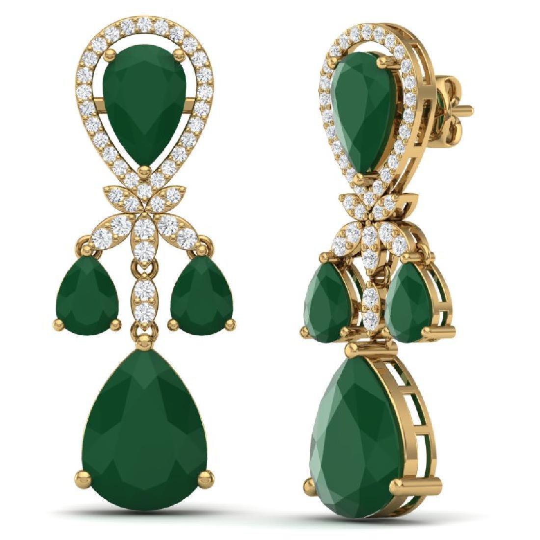 38.29 CTW Royalty Emerald & VS Diamond Earrings 18K - 3