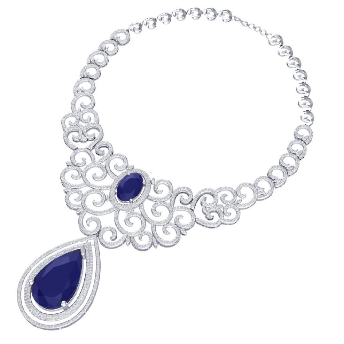 87.52 CTW Royalty Sapphire & VS Diamond Necklace 18K - 3