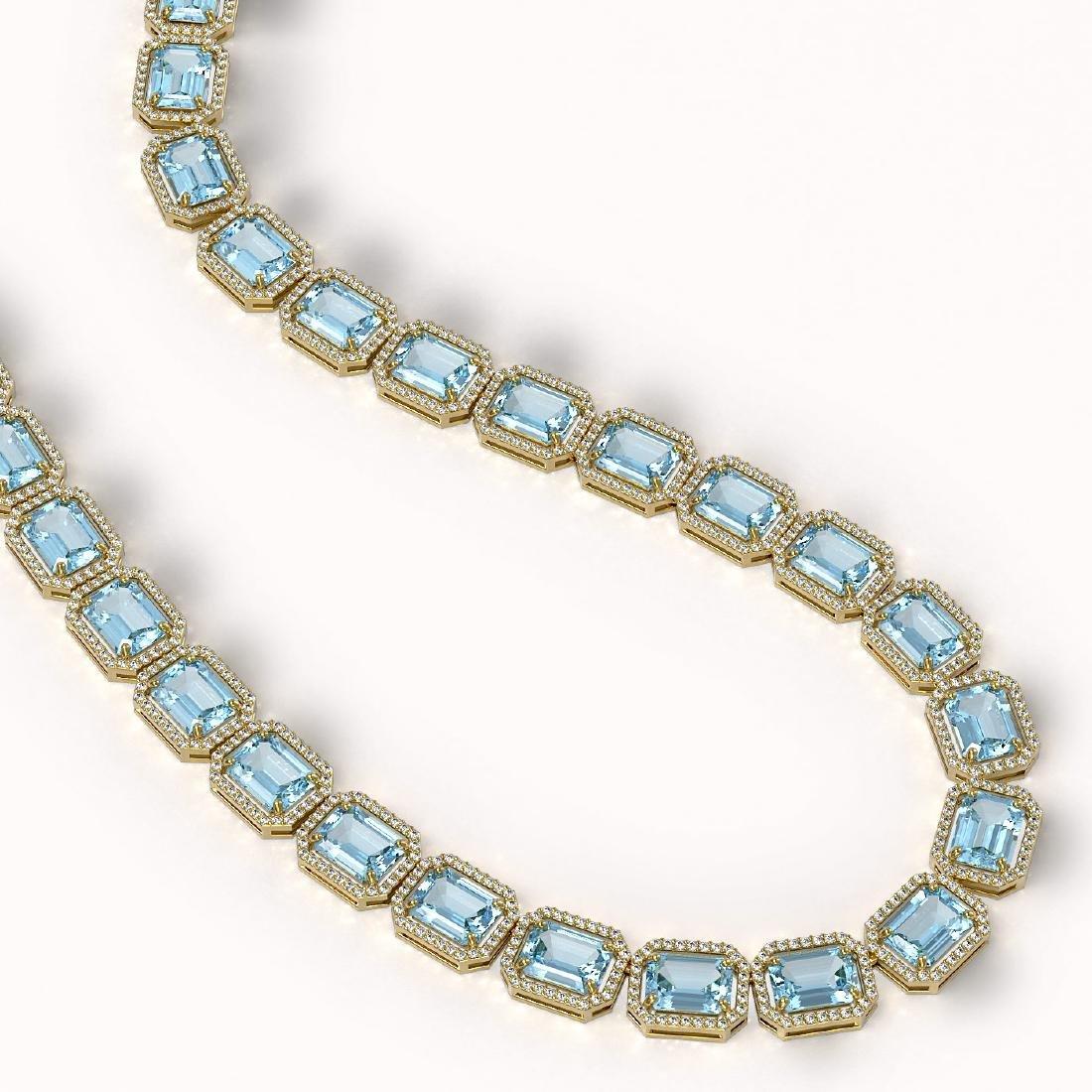 78.34 CTW Sky Topaz & Diamond Halo Necklace 10K Yellow - 2
