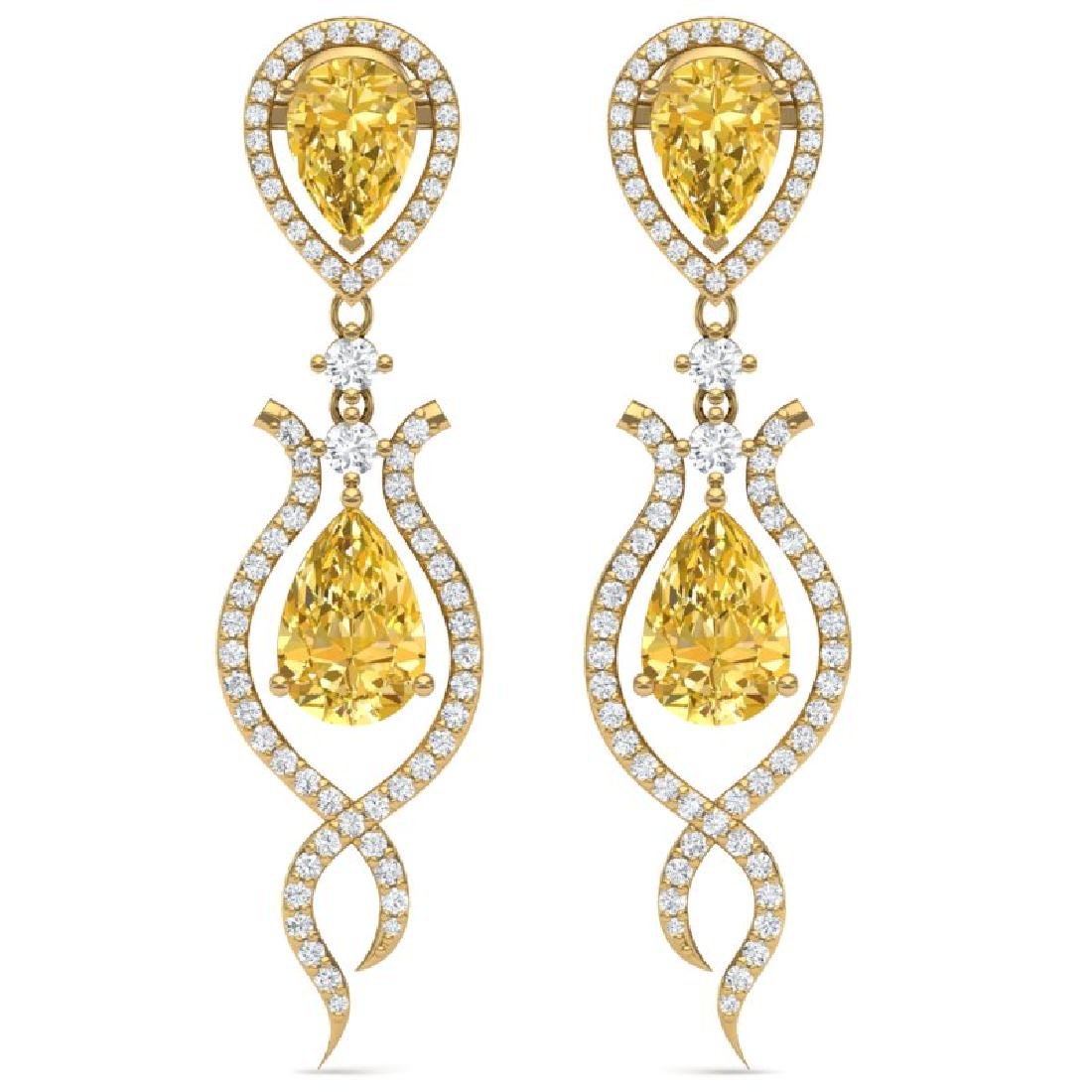 14.09 CTW Royalty Canary Citrine & VS Diamond Earrings