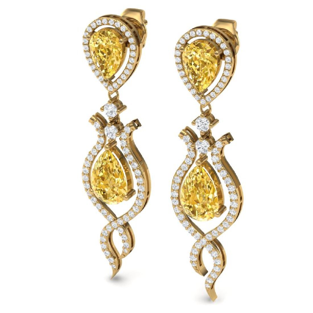 14.09 CTW Royalty Canary Citrine & VS Diamond Earrings - 2