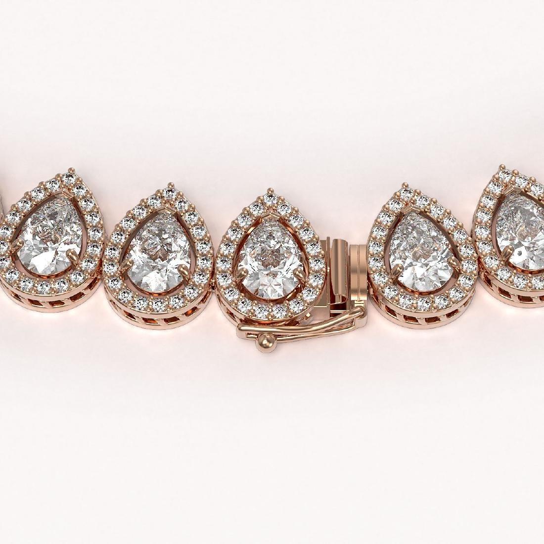 42.11 CTW Pear Diamond Designer Necklace 18K Rose Gold - 3