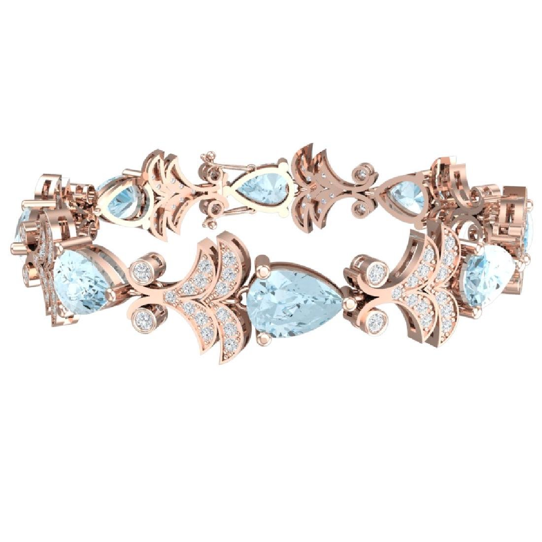 26.1 CTW Royalty Sky Topaz & VS Diamond Bracelet 18K - 3