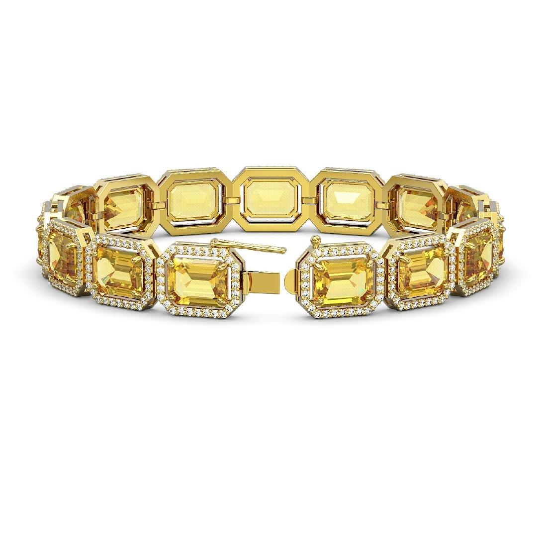 34.91 CTW Fancy Citrine & Diamond Halo Bracelet 10K - 2