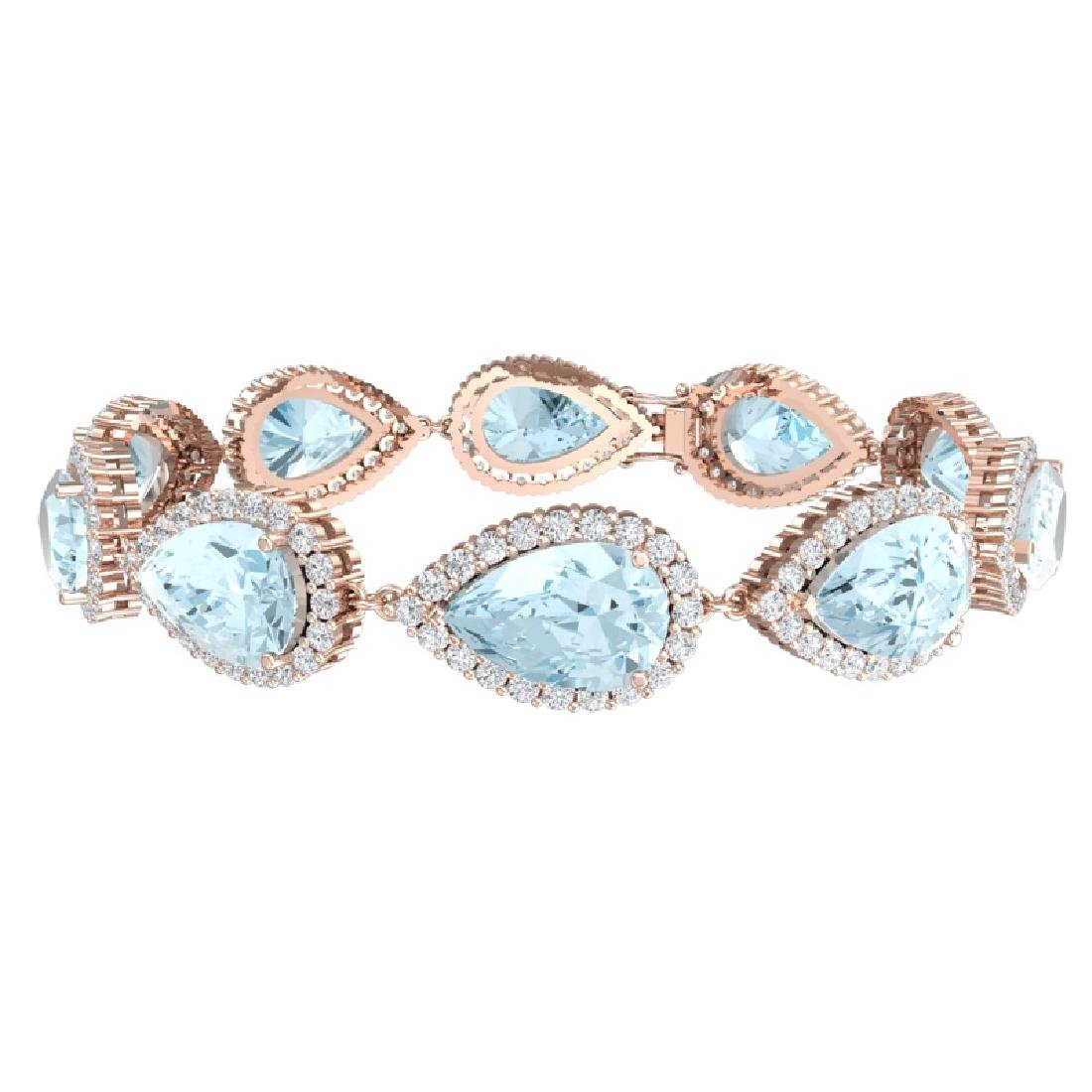 41.87 CTW Royalty Sky Topaz & VS Diamond Bracelet 18K - 3