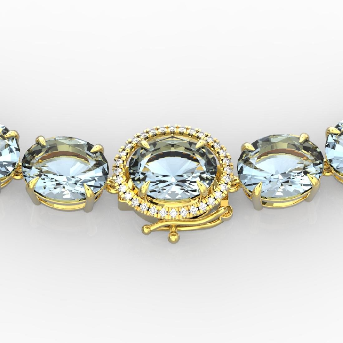 136 CTW Aquamarine & VS/SI Diamond Necklace 14K Yellow