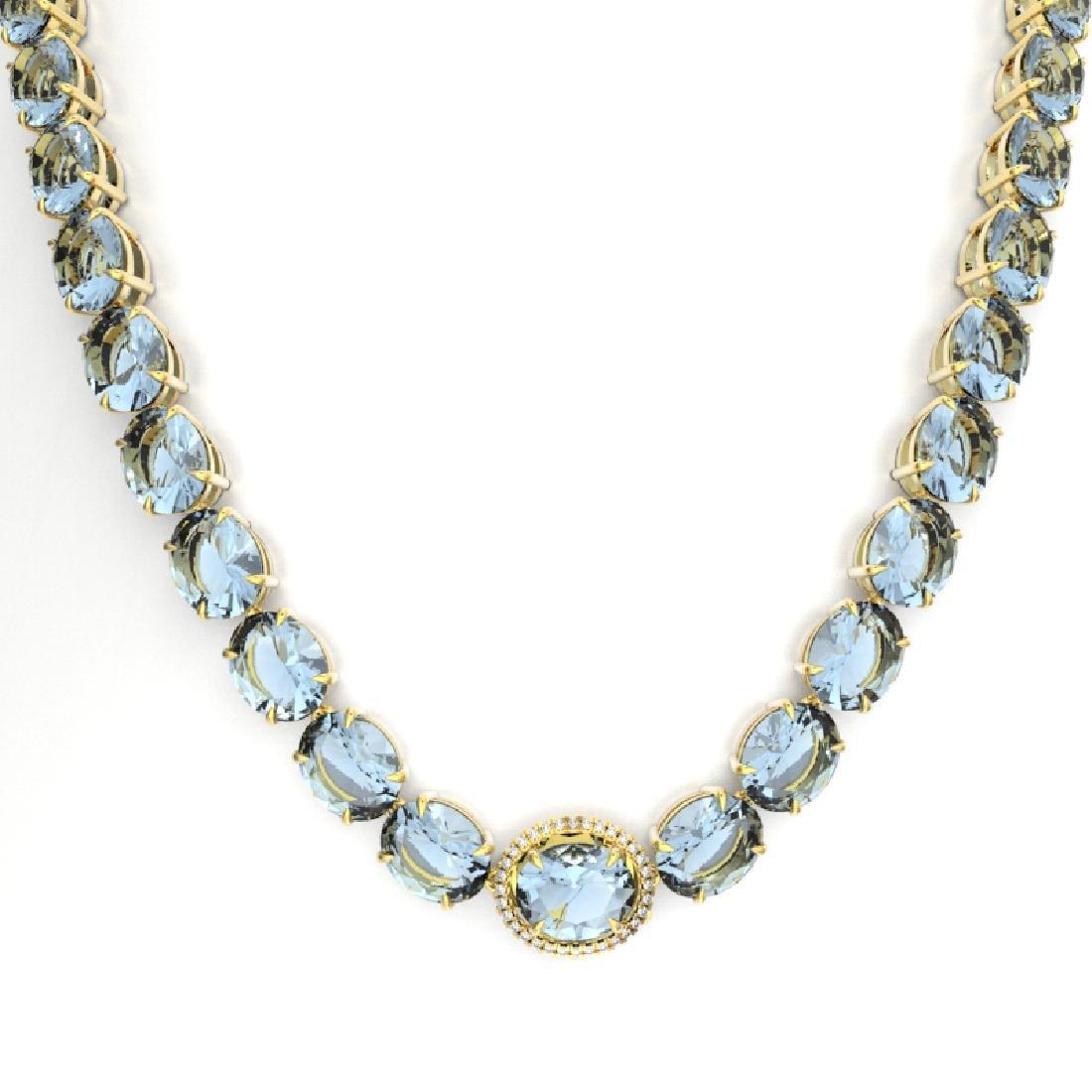 136 CTW Aquamarine & VS/SI Diamond Necklace 14K Yellow - 2