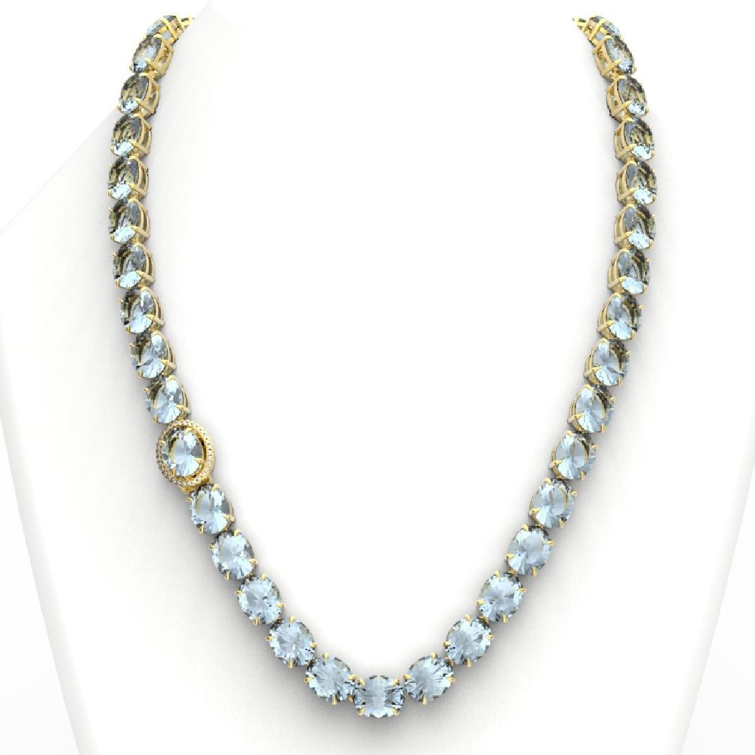 136 CTW Aquamarine & VS/SI Diamond Necklace 14K Yellow - 3